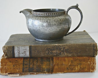 My Lady English Pewter Creamer, Small Metal Pitcher, Hammered Silver Colored Pewter Milk Pitcher