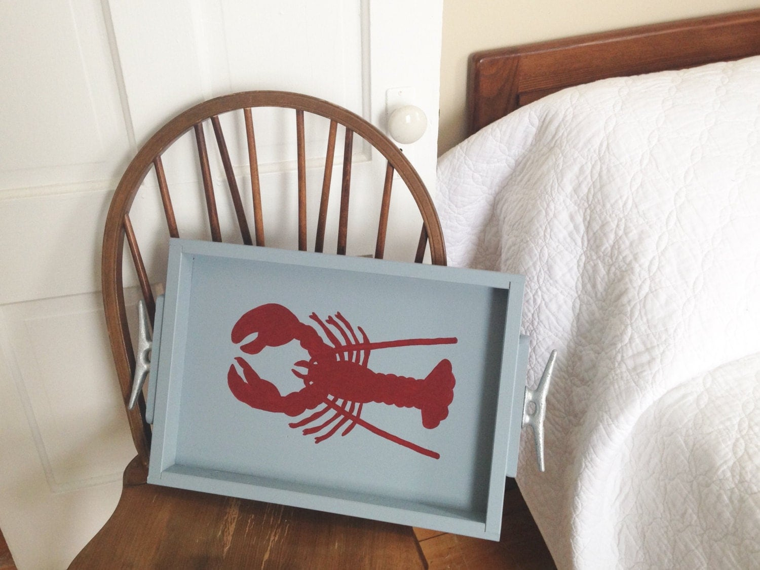 Wooden Coastal Decor: Painted Lobster Wooden Tray Nautical Tray Lobster Decor