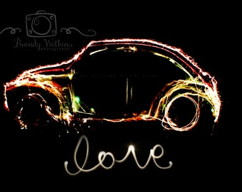 Volkswagen decor, fine art photograph print, Love Bug, fine art photography, light painting, vw car, wall decor, painting with light