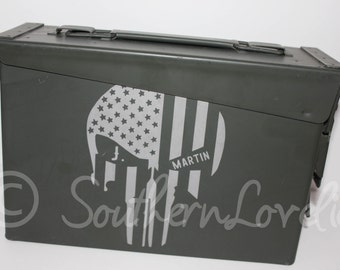 Personalized Patriotic Punisher Skull Ammo Can - 30 cal Ammo Box