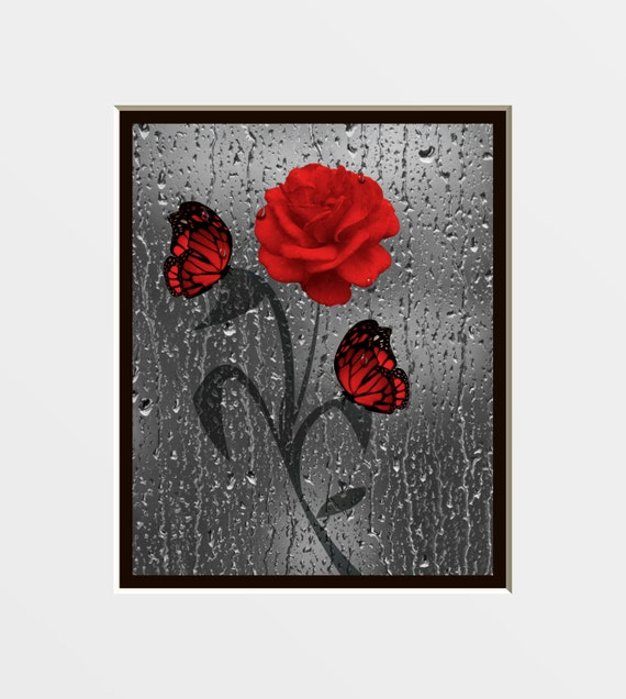 Bathroom Wall Decor Red : Red gray floral butterfly bathroom wall art by