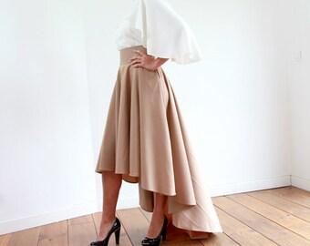 High low skirt, hi lo skirt, brown high low maxi skirt, midi skirt, assymetrical high waisted skirt, womens skirt