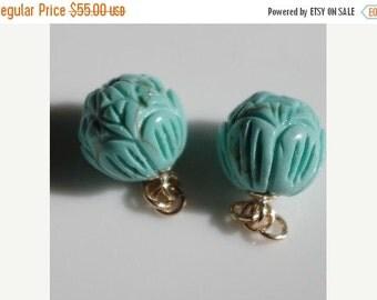 Vintage 14K Carved Rose Arizona Turquoise Ball Earrings Jackets Free Ship USA