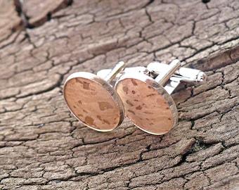 Cork cuff links, environmentally friendly cufflinks, classy cuff links, wedding cufflinks, cork oak, groom's cuff links, groomsmen cufflinks