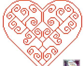 Heart with spirals (8) cross stitch pattern