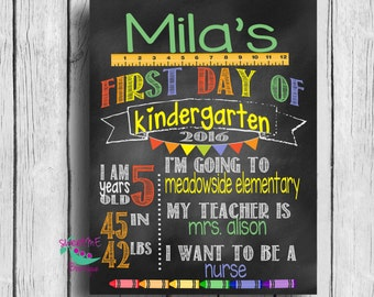 Customized  1st day of school image, my first day of school, digital download, printable, 1st grade, kindergarten, preschool, 2nd grade