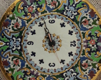 Wall Clock With 24 Karat yellow Gold edgings and patterns