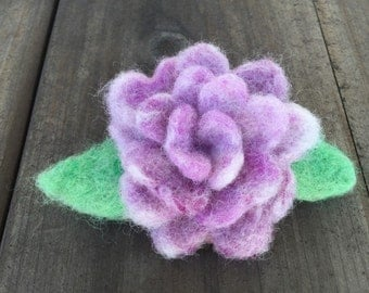 Lavender Wool Felted Rose Brooch