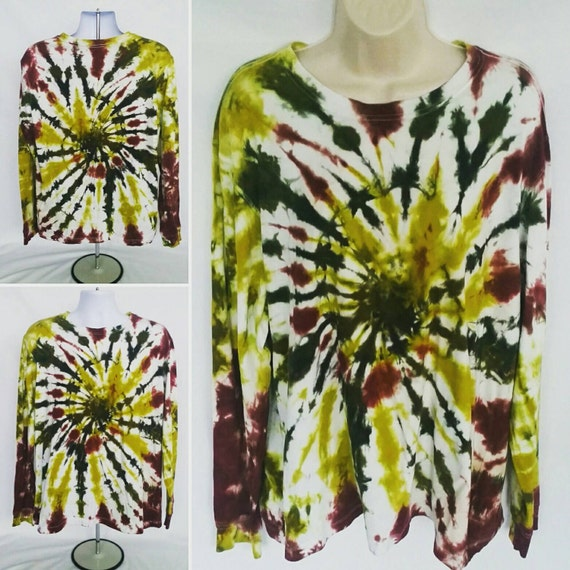 Tie Dye Shirt/Adult T-Shirt/Long Sleeve/Chartreuse, Olive & Maroon Spiral/Eco-Friendly Dyeing