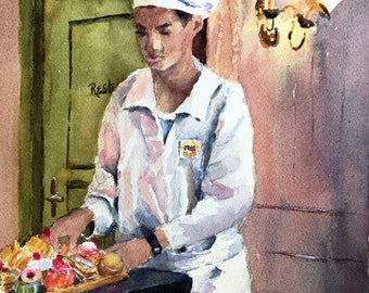 French pastries tea kitchen food art PRINT from watercolor original painting