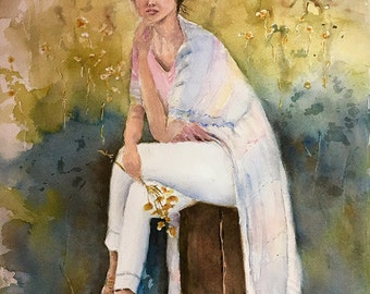 "Spring Song Fashion model woman watercolor original painting 14 x 21"""
