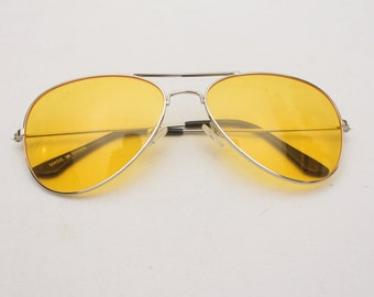 "Rare 90's Vintage ""LEMONADE"" Silver Frame Aviator Sunglasses with Yellow Lenses"