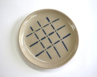 deep ceramic plate , beige with multicolored pins , handmade