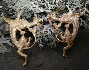 Raw Brass Stamping Dragon Pair Part 5