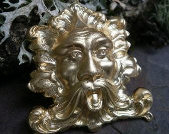 Raw Brass Stamping Green Man Tiny God