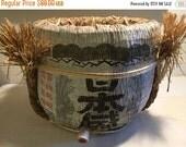 JANUARY CLEARANCE Vintage Wooden Japanese Sake Barrel / Keg with spigot