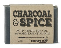 Activated Charcoal Spice Soap - Clove, Cinnamon & Citrus - Thick Lathering Shea Butter Soap - All Natural - Vegan - Best Soap for Oily Skin