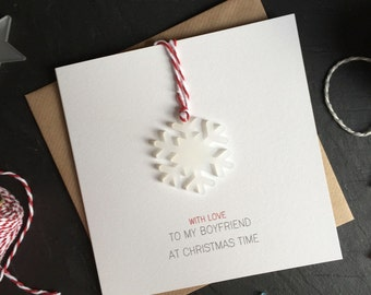 With Love to my Boyfriend at Christmas Time// Christmas Card with Frosted Perspex Snowflake Tree Decoration