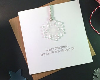 Merry Christmas Daughter and Son in Law // Christmas Card with Frosted Perspex Snowflake Tree Decoration