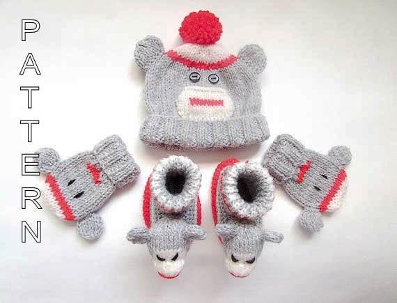 Knitting Pattern Sock Monkey Beanie Booties by WistfullyWoolen
