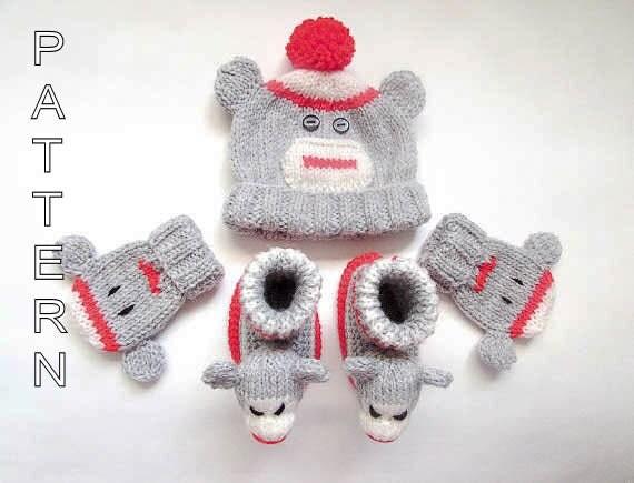 Knitting Pattern For Sock Monkey Booties : Knitting Pattern Sock Monkey Beanie Booties by WistfullyWoolen