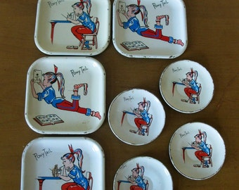 Rare 1958 8 piece PONY TAIL Girl Metal play dish set- 4 plates -4 saucers - original - Banner Toy co- retro MCM - child dish set -toy dishes