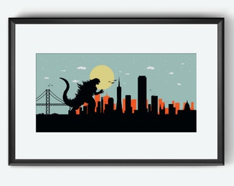 San Francisco Skyline print, The monster, San Francisco print, San Francisco poster, Kaiju print, Golden Gate bridge, Godzilla inspired art