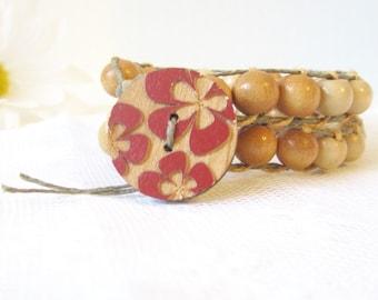 End of Summer Sale // Wood Bead Wrap // Boho Jewelry // Hippie Style // Festival Jewelry // Tropical // Beach