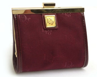 Dior monogram burgundy wallet