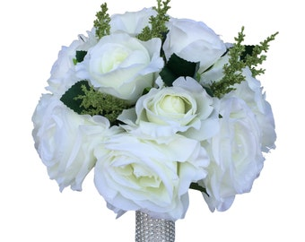 10 inch Bouquet-Ivory nice roses with greenery