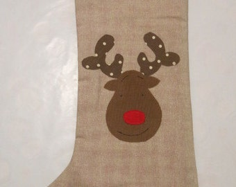 Fully lined reindeer Christmas ctocking