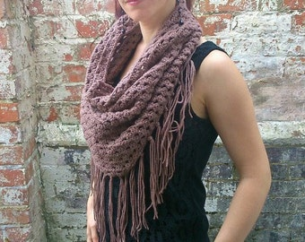 Triangle scarf with tassels . Triangle infinity scarf . Crochet scarf with fringe . Crochet infinity scarf . Spring scarf