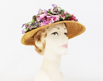 Floral Wide Brim Straw Hat - Vintage 1960s Lord and Taylor Sun Hat