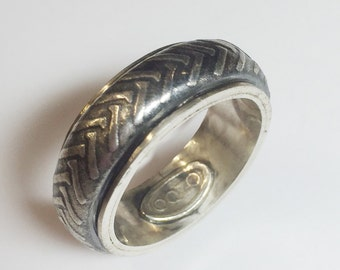 Motorcycle Tire Tread Ring, Sterling Silver, Size 11
