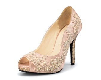 Nude Custom Made Glitter Heels, Lace Glitter Heels, Glittery Lace Bridal Heels, Nude Wedding Shoes,