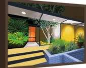 Canvas Print Mid Century Modern Eames Retro from Original Painting House at Night
