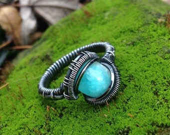 """Amazonite Silver """"Antiqued"""" Ring Size 9.5"""
