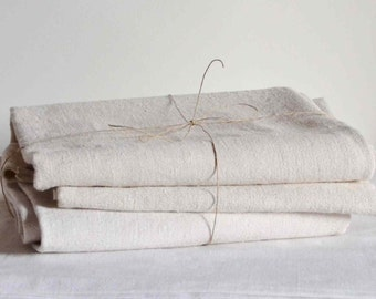 Antique French hemp fabric end 19th century