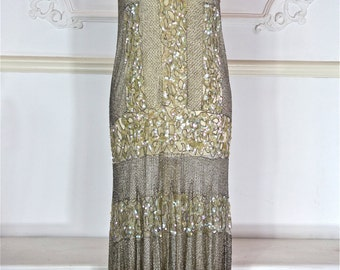 1920s Beaded Dress with Iridescent Sequins