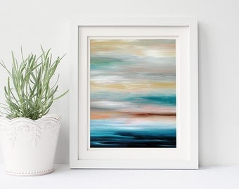 Coastal Print, Printable Wall Art, Coastal Decor, Blue Abstract Seascape, 8x10 Instant Download Art Digital Download Print, Gifts Modern Art