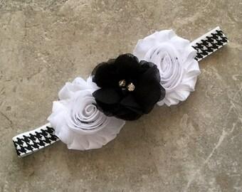 Baby girl headband, Black white headband, Baby Hair Bow, flower headband, baby headband, baby shower gift,