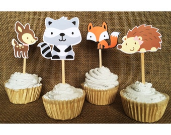 woodland creature cupcake toppers woodland party decor woodland baby shower decoration woodland birthday