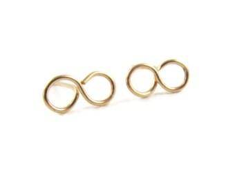 Infinity Stud Earrings, 14kt Gold Filled Earrings, Studs