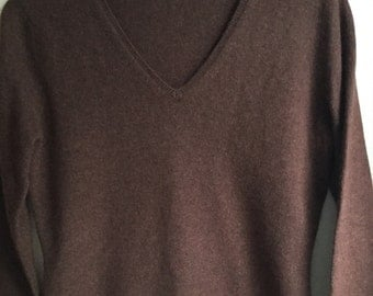 Chocolate Brown 100% cashmere vneck sweater upcycled sz M by Three Whiskers Farm