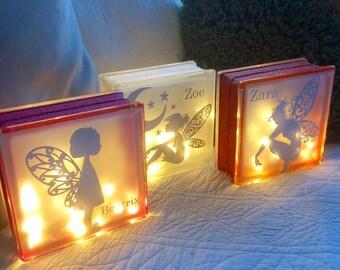 Personalised glitter glass block night light Your design