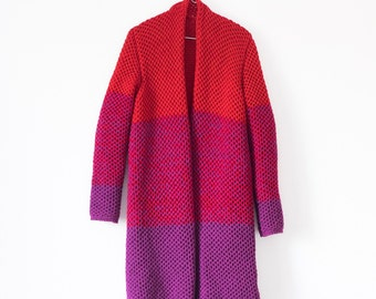 Woman's Hand Knit Jacket Cardigan / Red Knit Cardigan / Cashmere Coat
