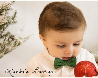 Baby Boy Bow Tie Boy Bowties Clip on Bow Tie Black Bowtie Laurel Leaf Bow Tie Green and Gold Bow Tie