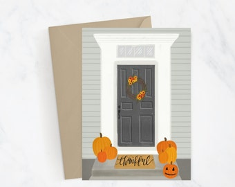 Thankful Greeting Card | Fall Card | Pumpkin Card | Autumn Card | Hand Illustrated | Hand Lettered | Snail Mail | Gift Idea | Thanksgiving