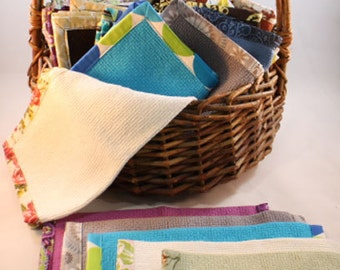 Cotton Fabric Kitchen Dish cloth Set -- Packs of 3 or 6, Variety Packs, Basketweave, Cotton Dishcloths, Dish Rags