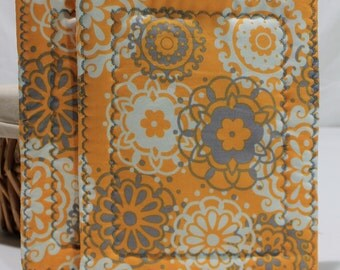 Orange and Grey Pot Holder Set/Oven Mitt/Trivet